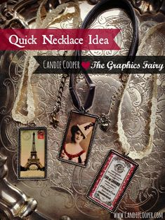 Easy Necklace Idea Candie Cooper - just add a layer of ICE Resin over top to seal and add dimension. We love these pieces by Candie! bead, necklac idea, graphics fairy, graphic fairi, easi necklac, vintag graphic, ice resin, diy necklace ideas, candy necklaces