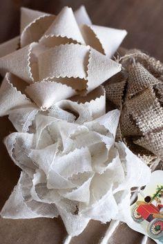 Art pretty DIY fabric bows for present wrapping, wreaths, etc. seasonal