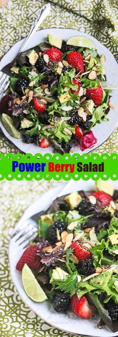 Power Berry Avocado Almond Chia Salad Recipe #sidedish #vegetarian #vegan #glutenfree #healthy #sensationalsides