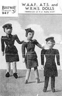 World war two knit dolls wearing military uniforms via Knitting-and.com