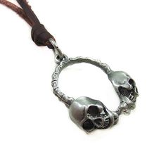 Brown real Leather and Double skull alloy pendant by sevenvsxiao, $9.00