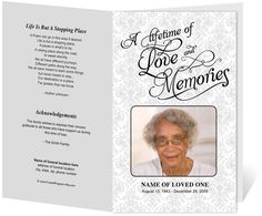 Beautiful Funeral Programs and Order of Service Templates: Lifetime With Lovely Preprinted Title Letter Single Fold Program Template