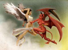Angel woman vs Devil Woman by ~heckthor on deviantART