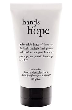 Philosophy 'Hands of Hope' hand & cuticle cream: I bought a 4-pack philosophy set from Ulta on Black Friday, and this was the first of the 4 products to be used up. It is INCREDIBLY moisturizing. I put this on my hands once a day right before getting into bed and it kept my hands soft all throughout two of the driest months of the year, December and January. The smell is unoffensive - kind of like playdough, but in a good way! 1,000 times better than the Eucerin lotion I was using before.