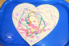 colored glue heart art - so easy & fun for Valentine's Day