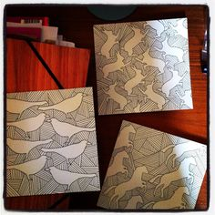 #graphic pen n ink copper leaf embellish next by Zoe Bailey