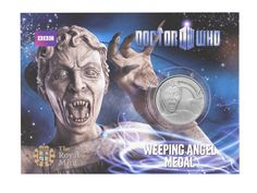 Weeping Angel Dr Who official medal from The Royal Mint