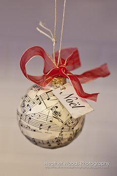 Sheet Music book page Christmas ornament