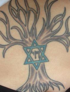 Tree of life, star of david, chai.  Jewish hebrew tattoo.
