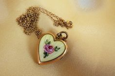 Yellow guilloche gold fill 1/20 12KT vintage  heart locket on chain~$125
