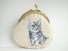 kitten Cat Hand Painting Purse