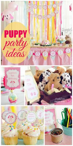 What an adorable pink and yellow puppy party for a girl birthday with balloons and fun activities! See more party ideas at CatchMyParty.com!