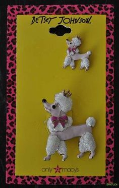 Betsey Johnson French Poodle Pin Set 2 Lapel Pink Dogs Brooch Enamel Stick Pins | eBay