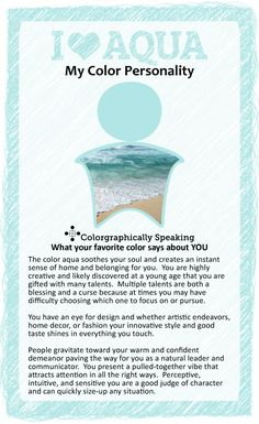 Aqua: Find out what your favorite color says about you in the I ♥ Color series from The Land of Color.