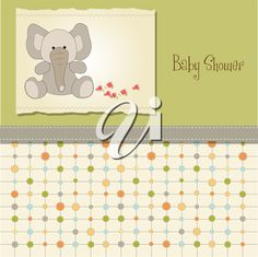 iCLIPART - baby shower card with elephant