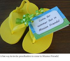 Child-sized flip flops make great summertime invitations for your Mission Friends class.