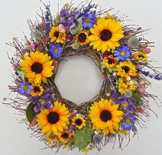 Wreaths For Door - Sunflower Parade Wreath , $59.99 (http://www.wreathsfordoor.com/sunflower-parade-wreath/)