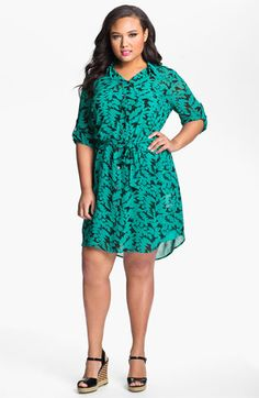 DKNYC Print Chiffon Shirtdress (Plus) available at Nordstrom