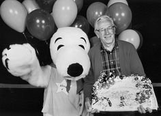 "Charles M. Schulz at ""Camp Snoopy's"" 10th anniversary, 1993"