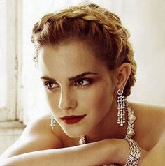 Emma Watson vogue italia, girl crushes, crown, braid, emma watson, hair makeup, red lips, hermione granger, formal hairstyles