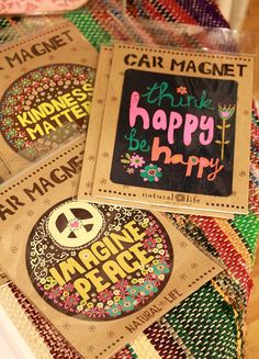 think happy be happy ... car magnets