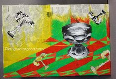 Mixed Media Painting- value still life painting on collaged newspaper background Grade 10