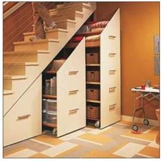 Storage under the stairs would work to store any type of emergency supplies.