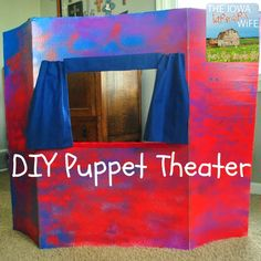 The Iowa Farmer's Wife: Recycled Puppet Theater decorated with @Simply Spray Project Paint