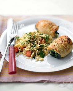Spinach-and-Brie Chicken with Tomato Orzo