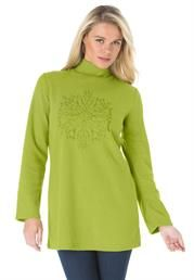 Plus Size Embroidered Sherpa Fleece Tunic to keep you warm on these cold autumn days.