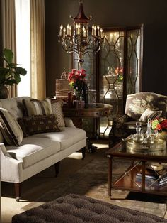 love this whole living room, but especially that chandelier!  #home #decor #elegant #dark