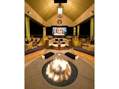outdoor home theater + fire pit