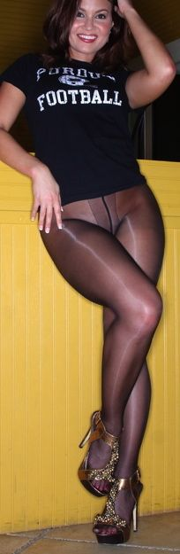 Black pantyhose with sexy high heels