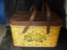 Vintage Cheinco Picnic Style Tin Basket with Lid and Handles