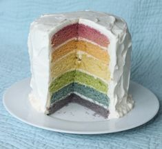 rainbow cake made with natural dyes