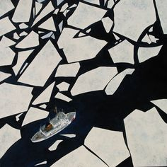 Ice surrounding a big ship