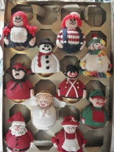 Crocheted Christmas Character Ornaments.
