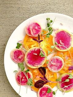 Watermelon Radish Heirloom Tomato Carpaccio Salad with chopped red onion and micro-greens #vegan #glutenfree #paleo