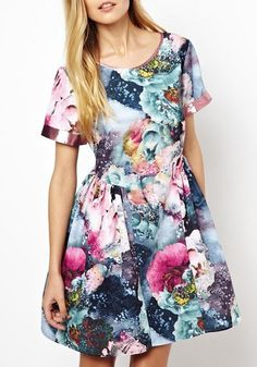 GORGEOUS Colors for SPRING! So Pretty! Multicolor Floral Short Sleeve Short Cotton Blend Dress #Spring #Summer #floral #fabric #fashion
