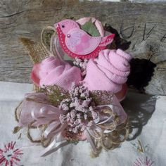 baby shower sock corsage boy blue pacifier baby shower