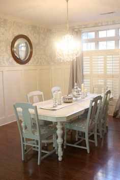 decor, dining rooms, wall boards, dine room, chairs, color blue, paint colors, blues, curtain