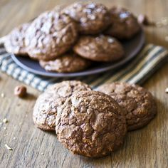 ... cookies! Decadent chocolate chunk cookies with hazelnut flavor will
