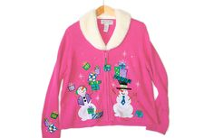 Snowman & Gifts Fur Collar Pink Tacky Ugly Christmas Sweater / Cardigan Women's Size XL $28