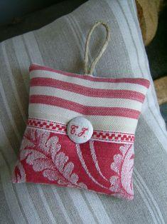 French red stripes linen pincushion sachet