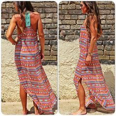 The Meredith | Wild Bleu Aztec Maxi Cover-up. Crochet Back Panel.  Made in America.