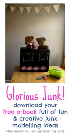 A free kids craft ebook - download a copy of Glorious Junk! Full of ideas for creative play.   NurtureStore :: inspiration for kids
