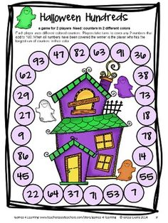 Halloween Math Board Game from Halloween Math Games Second Grade by Games 4 Learning for bringing some Halloween fun into the classroom. $
