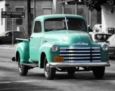 Old Pickup Truck Teal Chevrolet