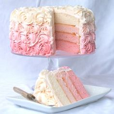 #Rose #Ombre Cake. It may not be a DIY, but a little help from a friend goes a long ways.