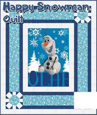 Happy Snowman Olaf From Disney's Frozen Quilt Pattern by It's Sew Emma at KayeWood.com. Olaf the Happy Snowman Quilt Pattern Disney Frozen Olaf by Its Sew Emma Patterns. The Quilt measures 56.5 x 66.5 when finished. http://www.kayewood.com/item/Happy_Snowman_Pattern/3710 $9.00